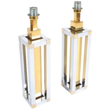 Romeo Rega Chrome and Brass Table Lamps
