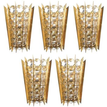 Bakalowits & Sohne Crystal and Brass Sconces