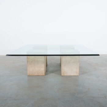 Vignelli Travertine Glass Table 01
