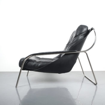marco Zanuso Maggiolina Black Leather Chair_01 Kopie