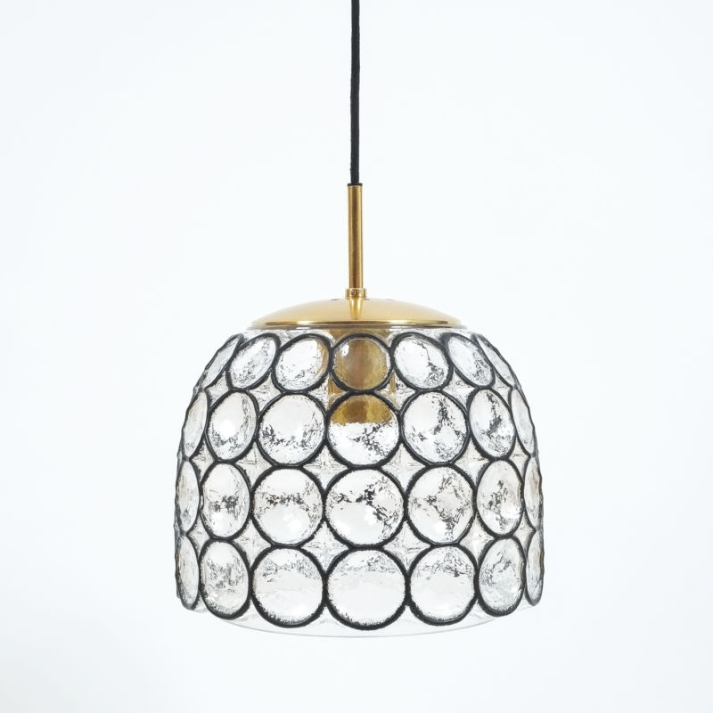 Limburg Glass and Brass Pendant Lamp Light, Germany 1960