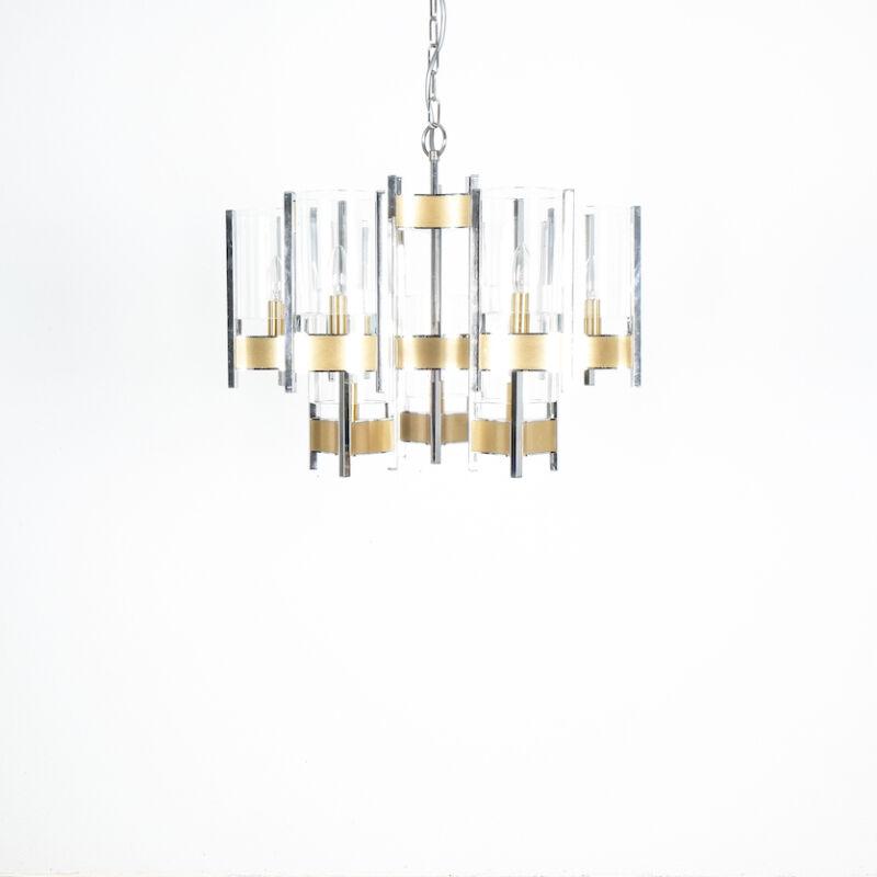 Gaetano Sciolari Brass Chrome Chandelier 01