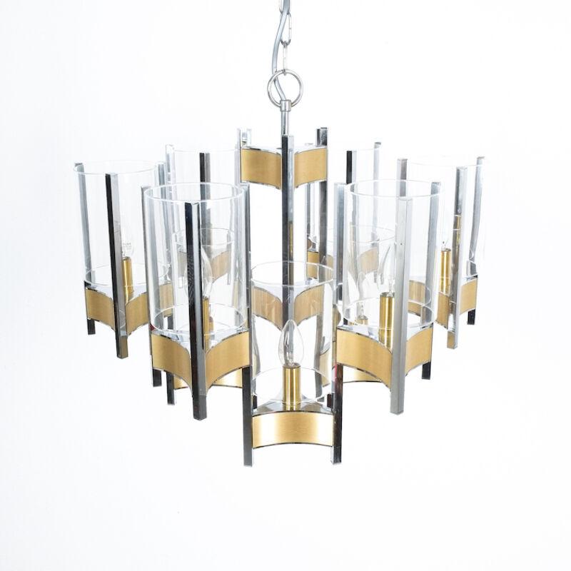 Gaetano Sciolari Brass Chrome Chandelier 02