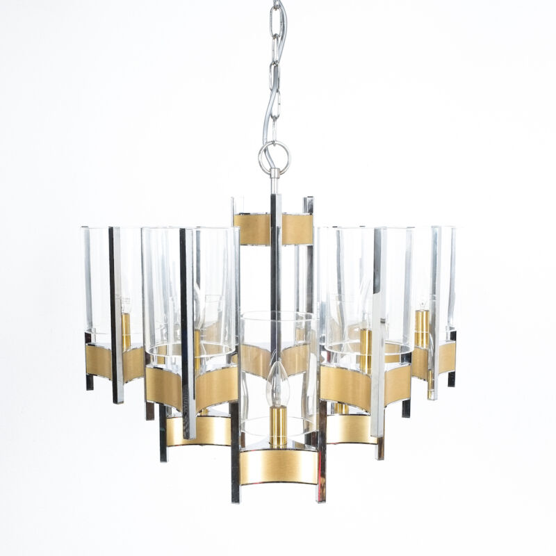 Gaetano Sciolari Brass Chrome Chandelier 03