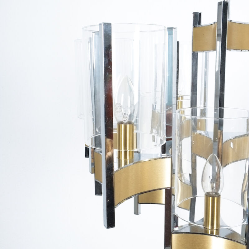 Gaetano Sciolari Brass Chrome Chandelier 04