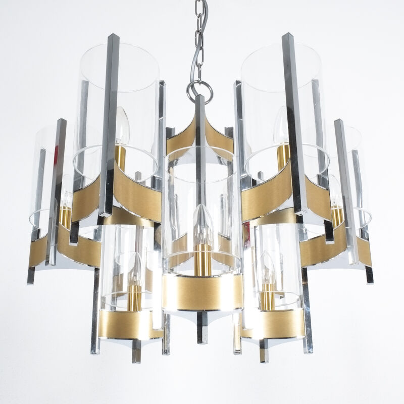 Gaetano Sciolari Brass Chrome Chandelier 07