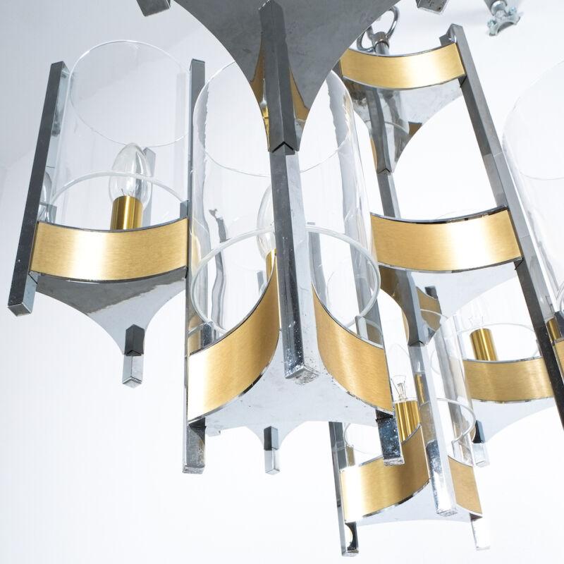 Gaetano Sciolari Brass Chrome Chandelier 08