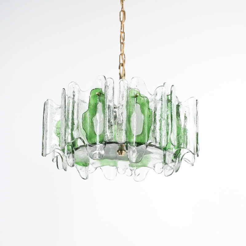 Kalmar green glass chandelier 1960_08