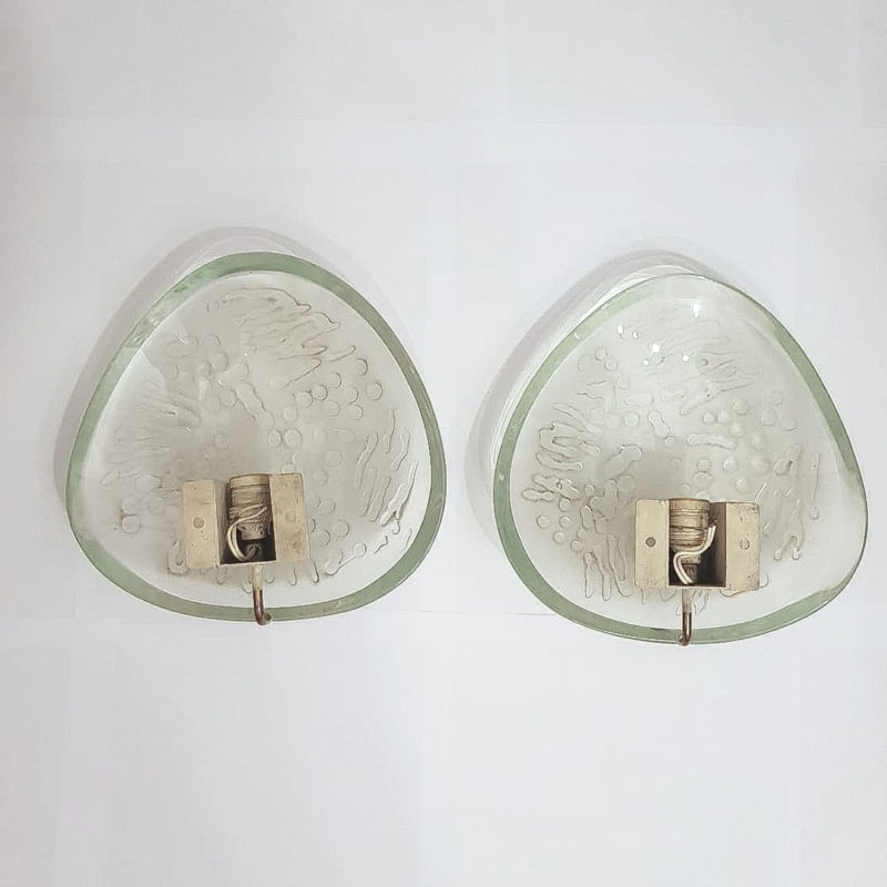 Max Ingrand Arte Sconces Thick Glass Rare 02