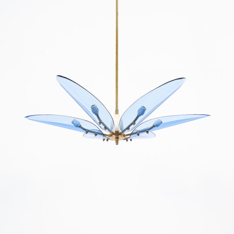 Max Ingrand Chandelier Dahlia Blue Glass 01