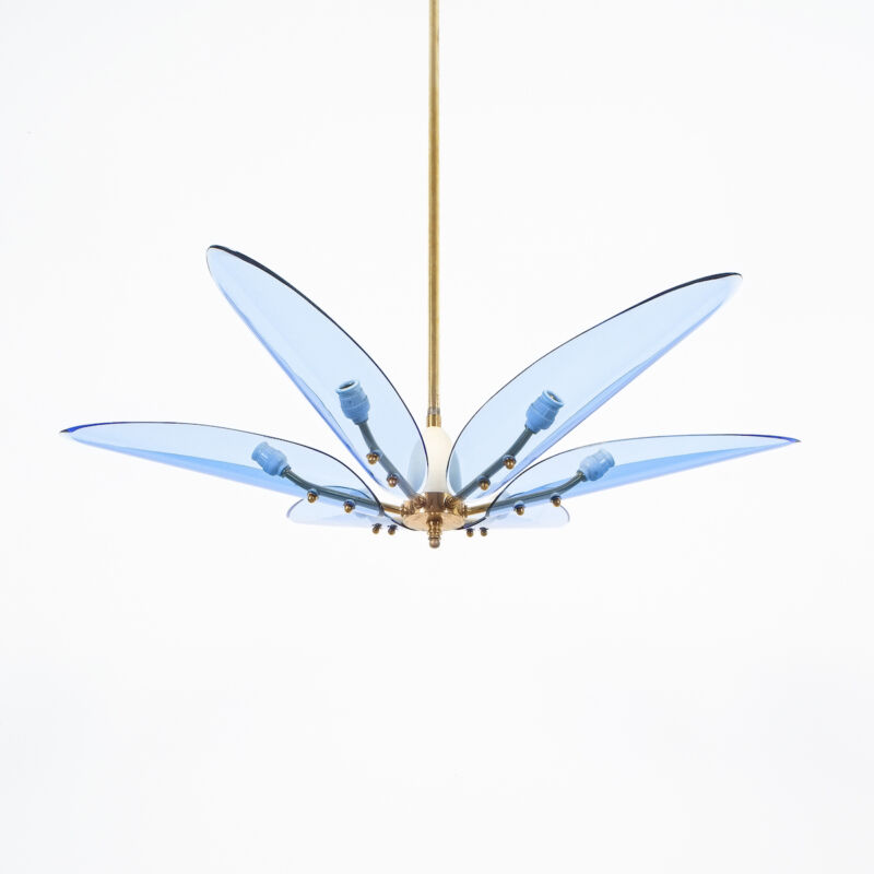 Max Ingrand Chandelier Dahlia Blue Glass 04