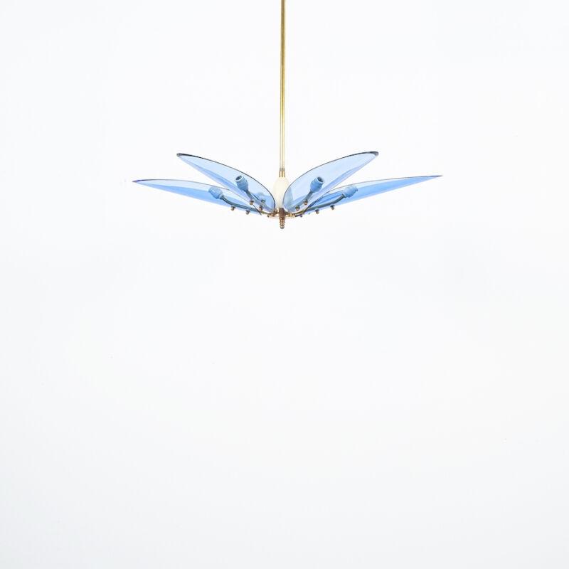 Max Ingrand Chandelier Dahlia Blue Glass 05