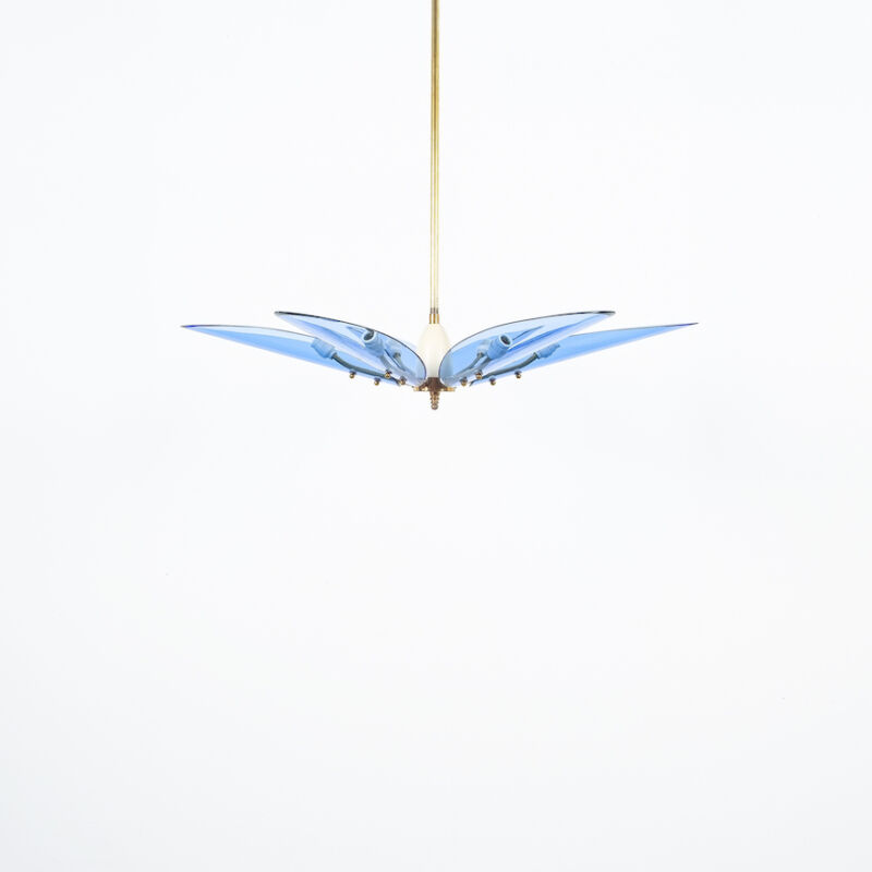 Max Ingrand Chandelier Dahlia Blue Glass 07