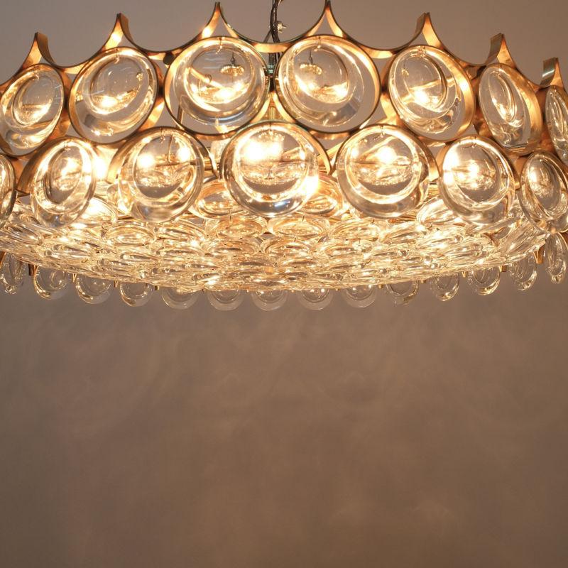 Palwa 27 inch flush mount brass glass