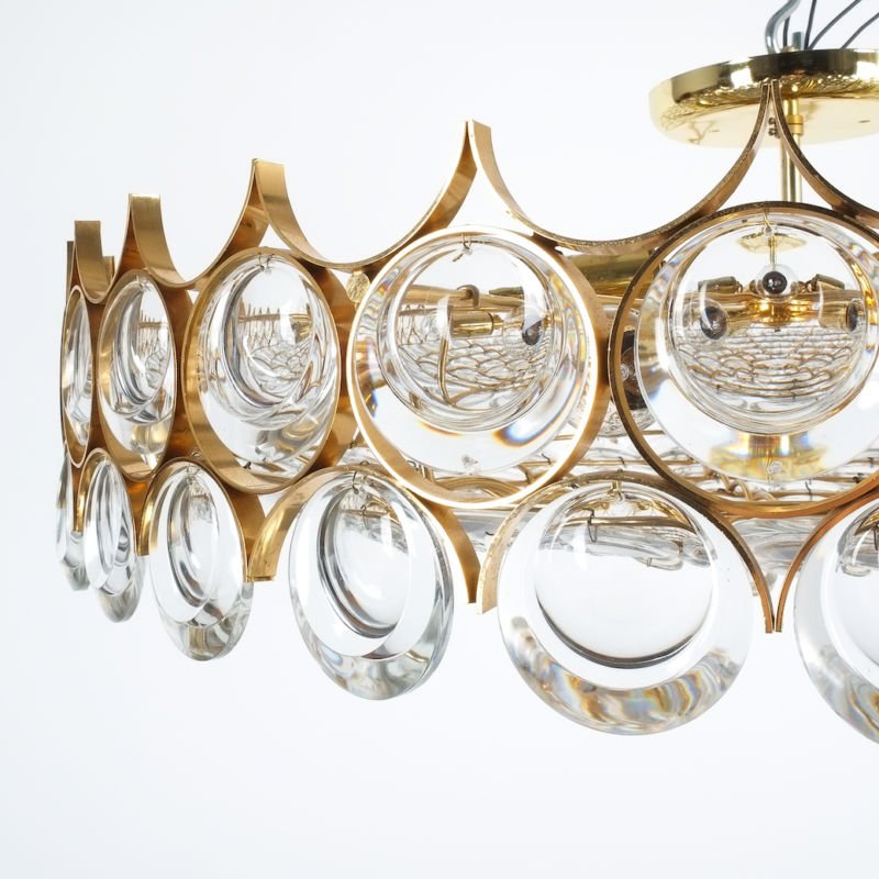 Palwa 27 inch flush mount brass glass_09