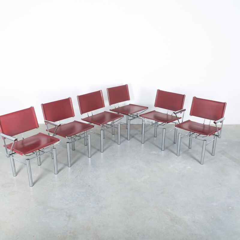 Red Leather Hans Ullrich Bitsch Chairs 02