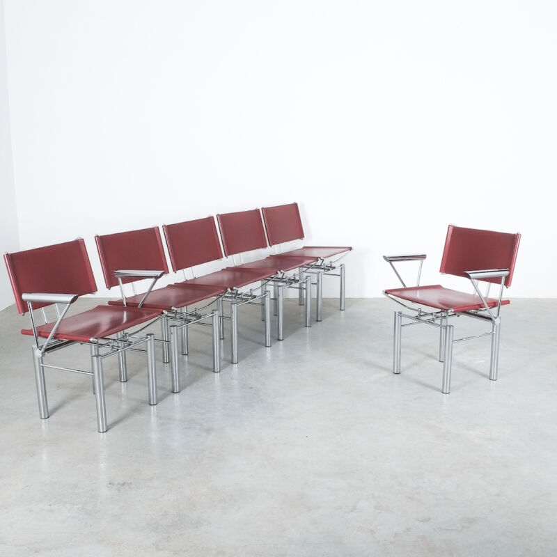 Red Leather Hans Ullrich Bitsch Chairs 03