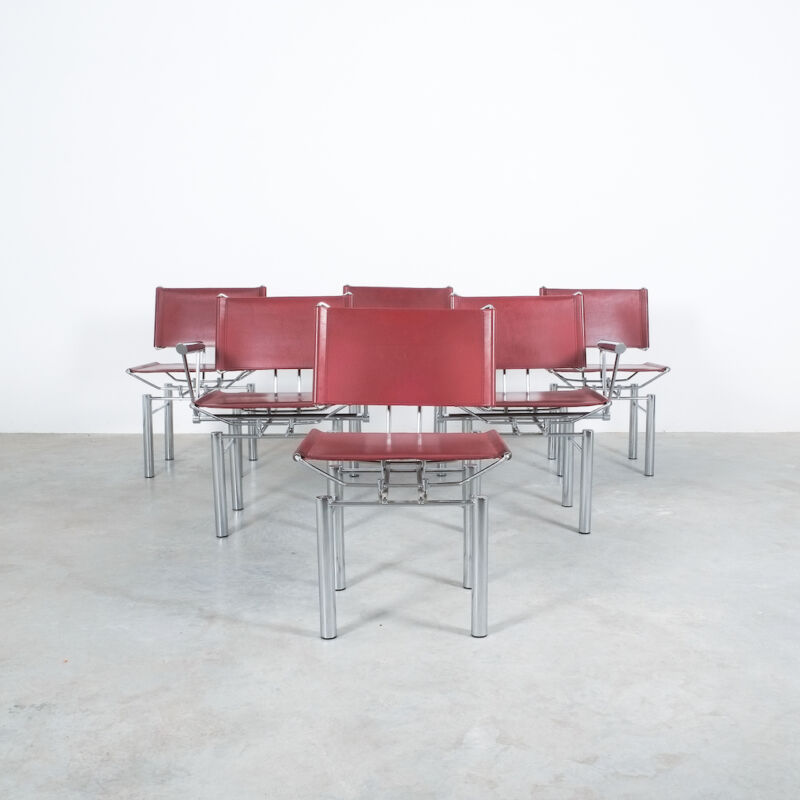 Red Leather Hans Ullrich Bitsch Chairs 05