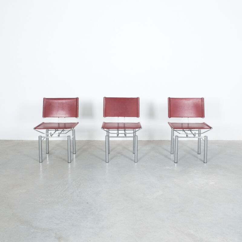 Red Leather Hans Ullrich Bitsch Chairs 06