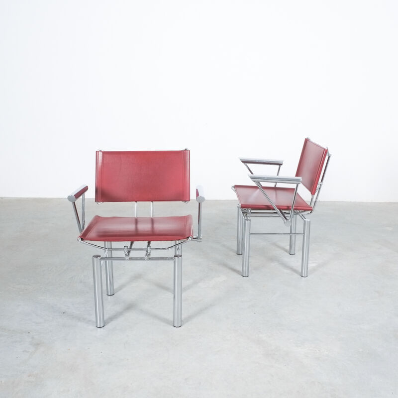 Red Leather Hans Ullrich Bitsch Chairs 07
