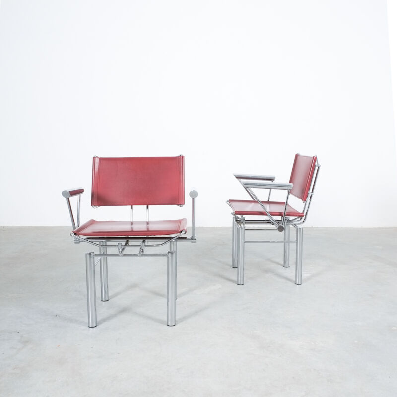 Red Leather Hans Ullrich Bitsch Chairs 08