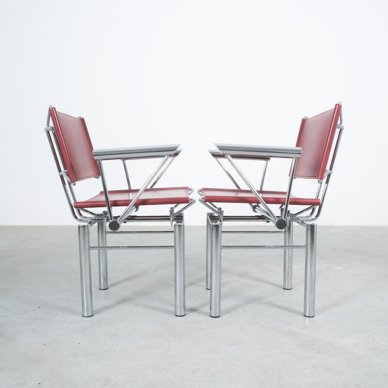 Red Leather Hans Ullrich Bitsch Chairs 09