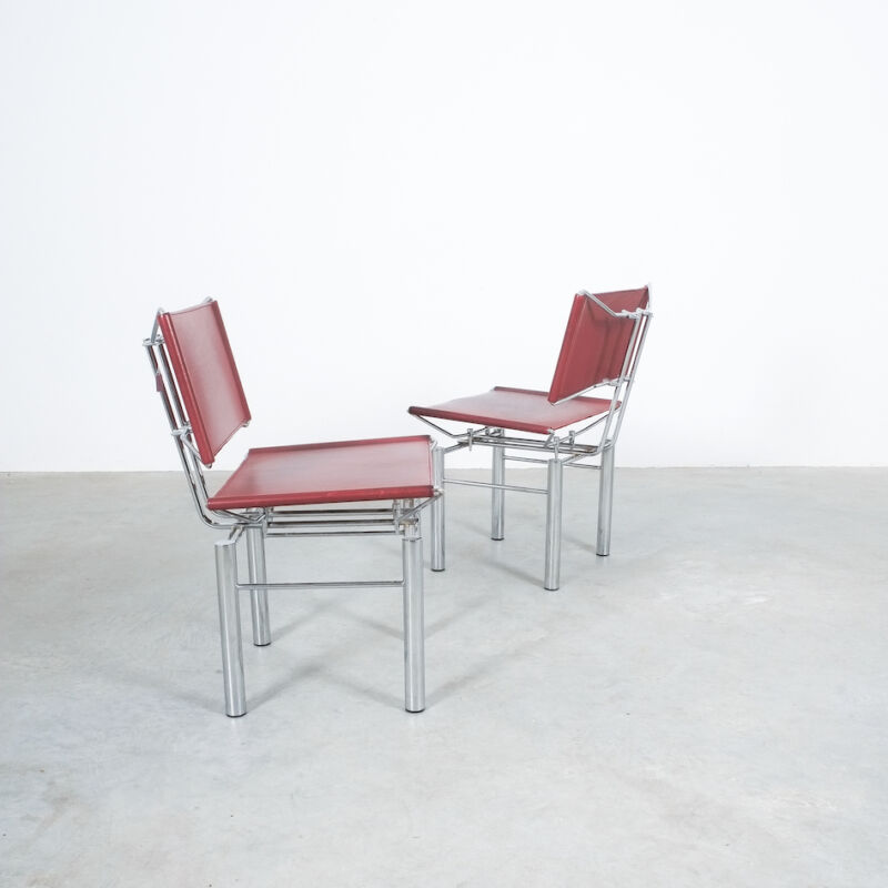 Red Leather Hans Ullrich Bitsch Chairs 10
