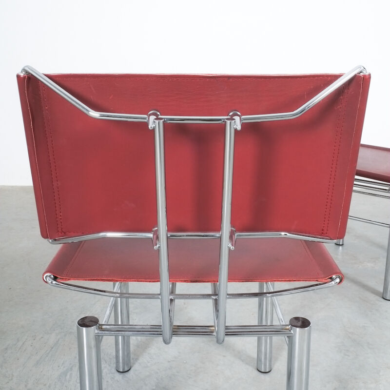 Red Leather Hans Ullrich Bitsch Chairs 11