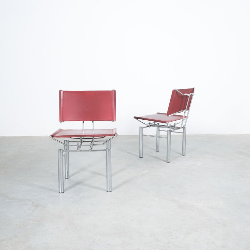 Red Leather Hans Ullrich Bitsch Chairs 12