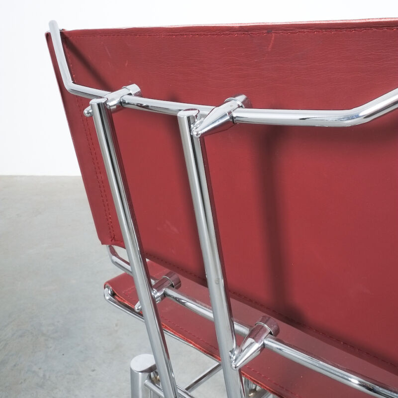 Red Leather Hans Ullrich Bitsch Chairs 13