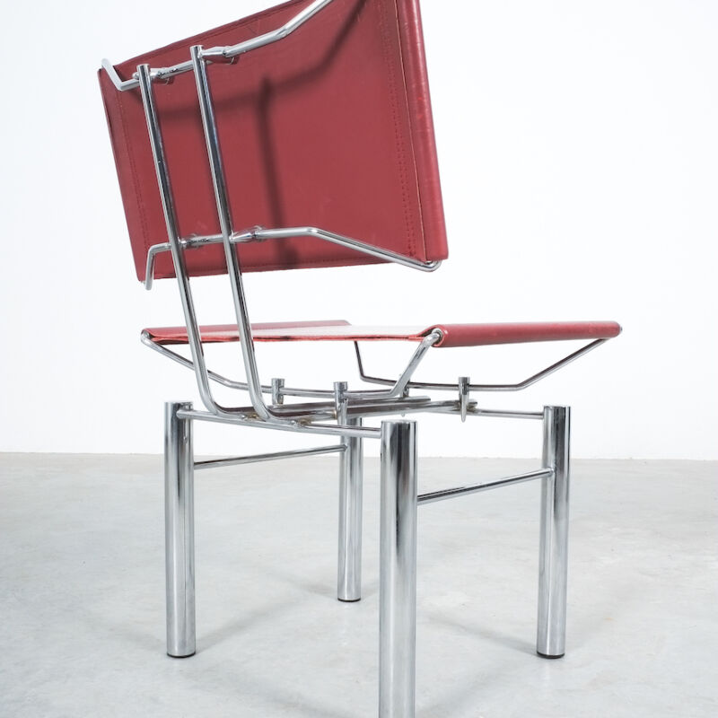 Red Leather Hans Ullrich Bitsch Chairs 14