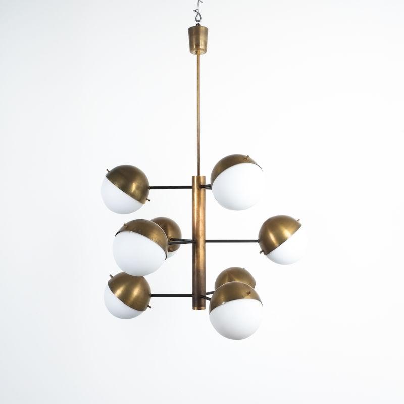 Stilnovo brass opaline chandelier_04