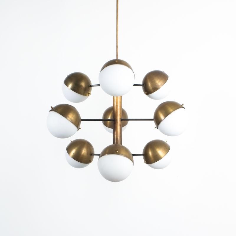 Stilnovo brass opaline chandelier_07