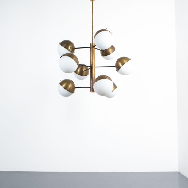 Stilnovo brass opaline chandelier_08