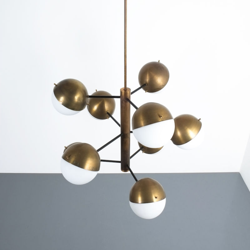 Stilnovo brass opaline chandelier_11