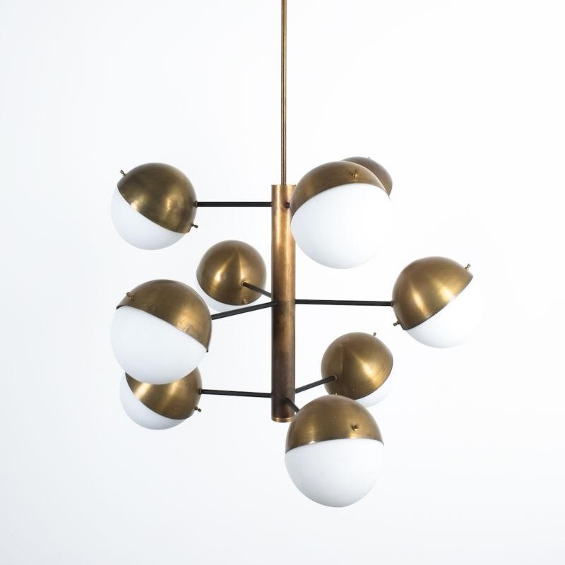 Stilnovo brass opaline chandelier_12
