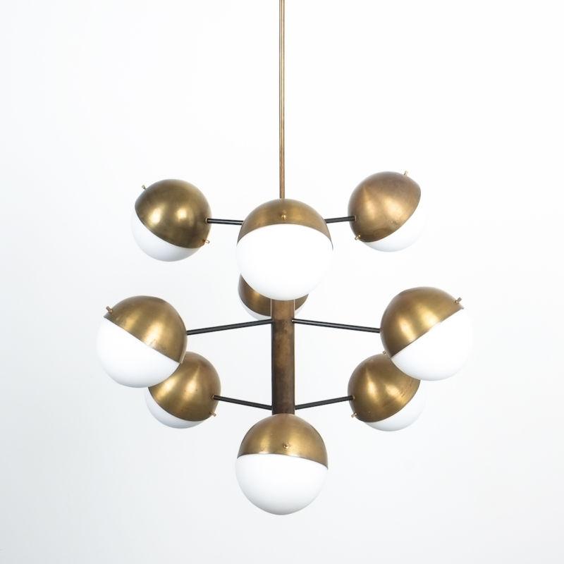 Stilnovo brass opaline chandelier_15