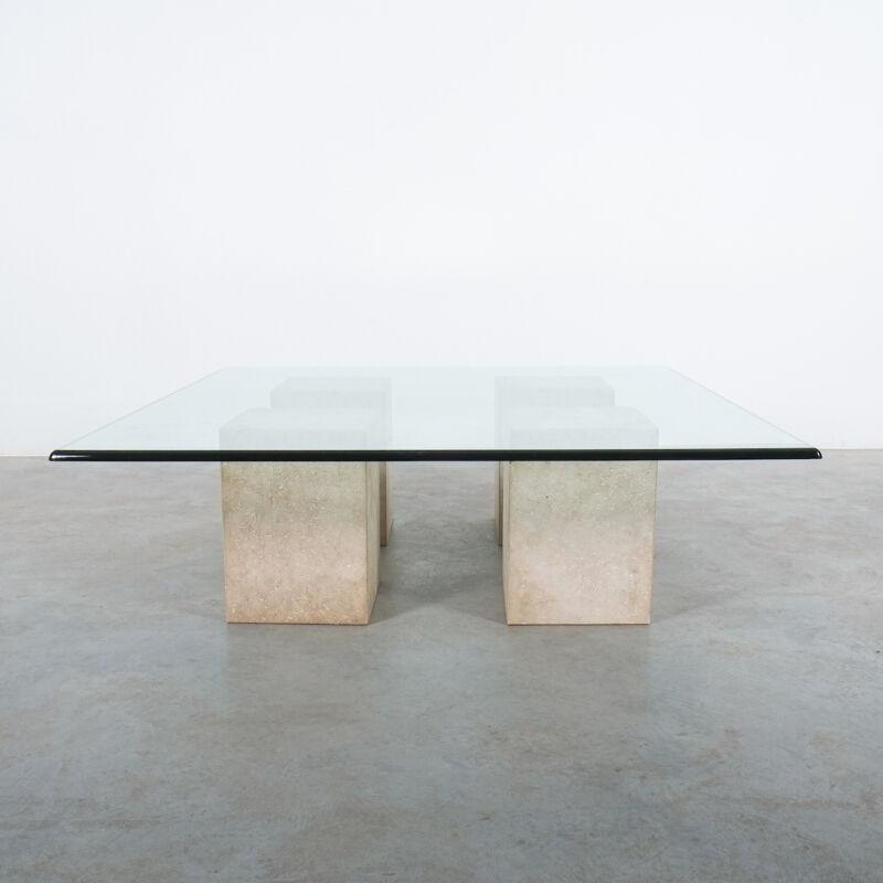 Vignelli Travertine Glass Table 01