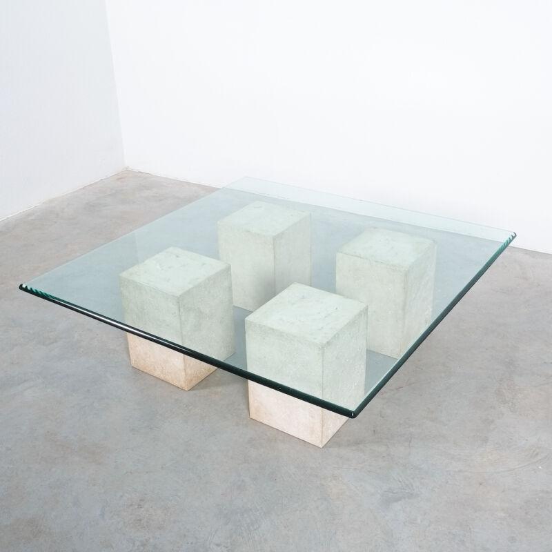 Vignelli Travertine Glass Table 02