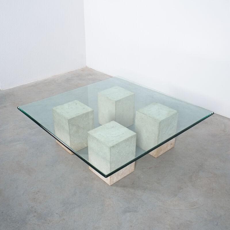 Vignelli Travertine Glass Table 03