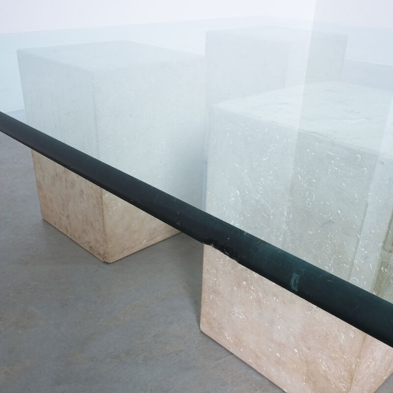 Vignelli Travertine Glass Table 04