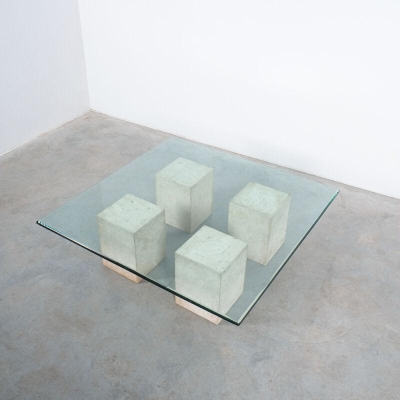 Vignelli Travertine Glass Table 06
