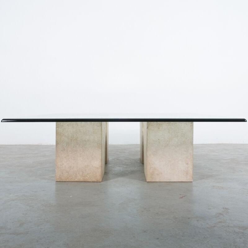 Vignelli Travertine Glass Table 07