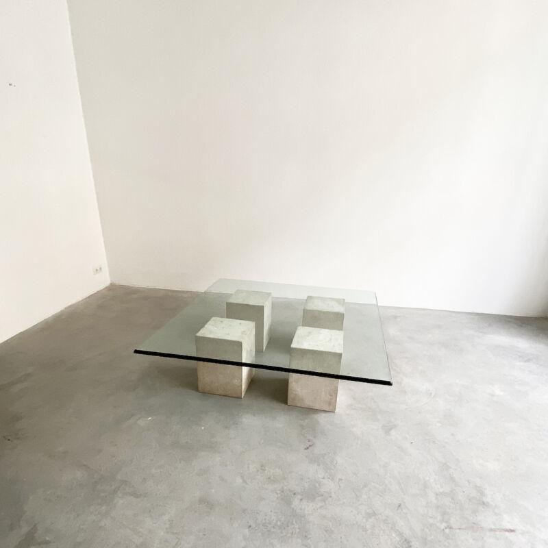 Vignelli Travertine Glass Table 08