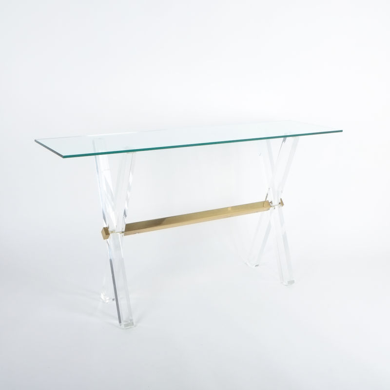 X console table lucite brass_01