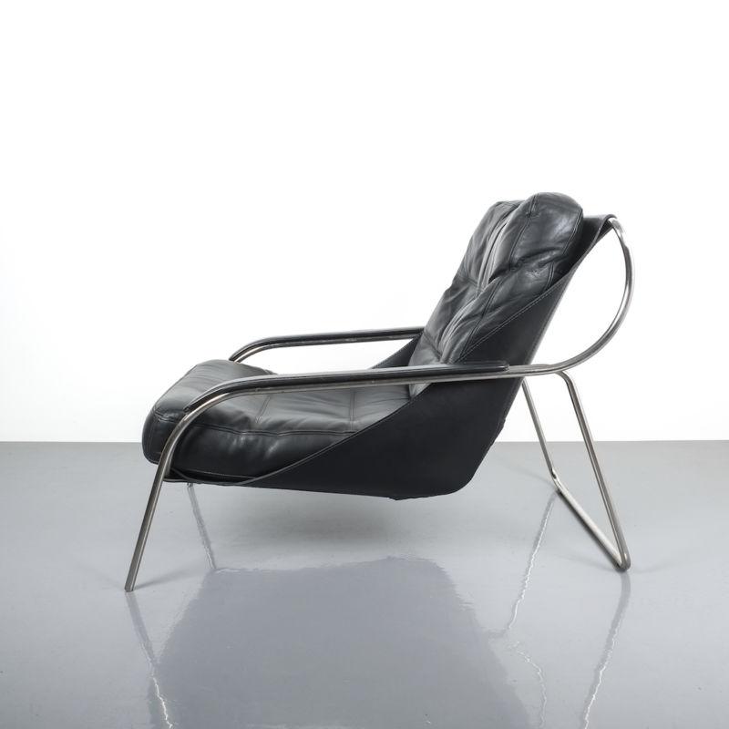 Zanuso Maggiolina Black Leather Chair_02 Kopie