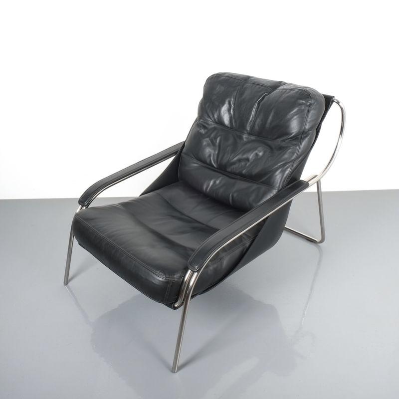 Zanuso Maggiolina Black Leather Chair_03 Kopie