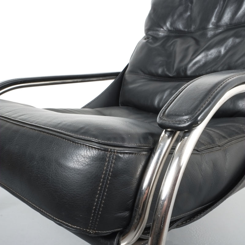 Zanuso Maggiolina Black Leather Chair_05 Kopie