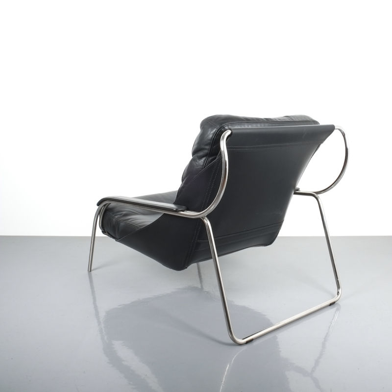 Zanuso Maggiolina Black Leather Chair_06 Kopie