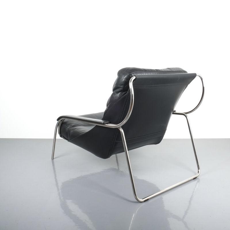 Zanuso Maggiolina Black Leather Chair_06 Kopie